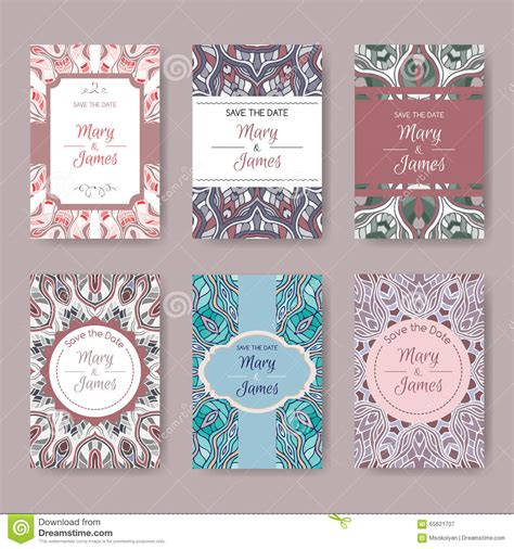Set Of Pastel Card Templates With Ethnic Patterns Stock Vector Image 65621707 Save The Date Rubber St Template