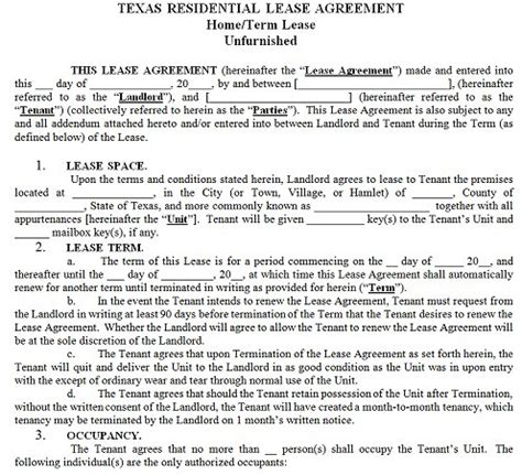 Subletting Agreement Template texas residential tenancy lease agreement texas rental