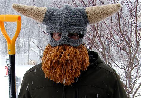 knit viking hat with beard pattern 25 cool winter hats that will keep you warm bored panda