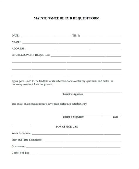 Tenant Repair Request Form Template Shootfrank Co Tenant Maintenance Request Form Template