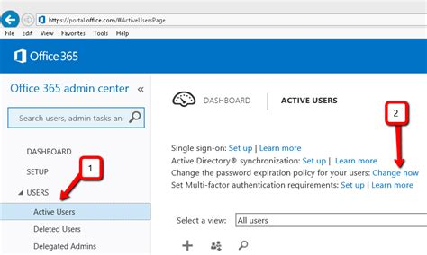 change the password expiration policy on office365 crm