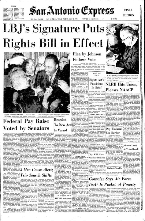 July 3, 1964: Texan President signs Civil Rights Act into