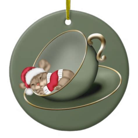 sleeping tea cup mouse 2 sided double sided ceramic round