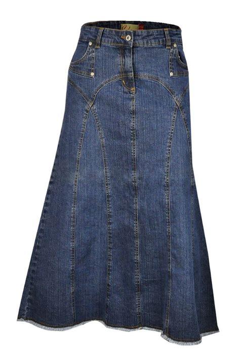Dress Denim Longhem Denim Belt Tunik Denim maxi denim skirt plus size uk clove length skirts