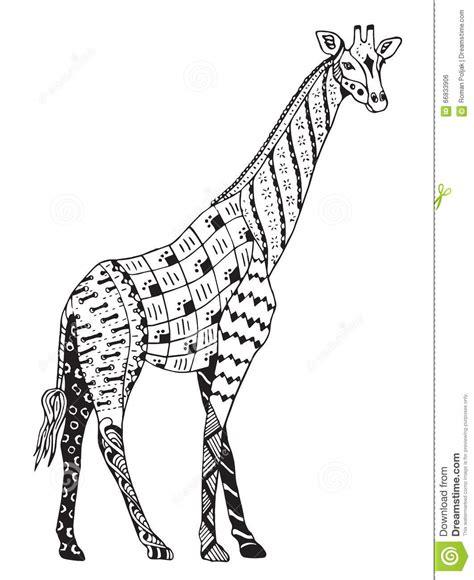 giraffe zentangle stylized vector illustration freehand