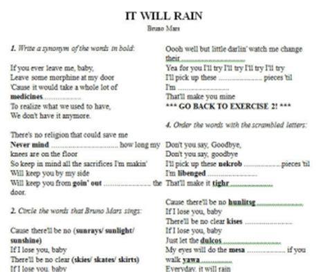 bruno mars biography worksheet song worksheet it will rain by bruno mars alternative