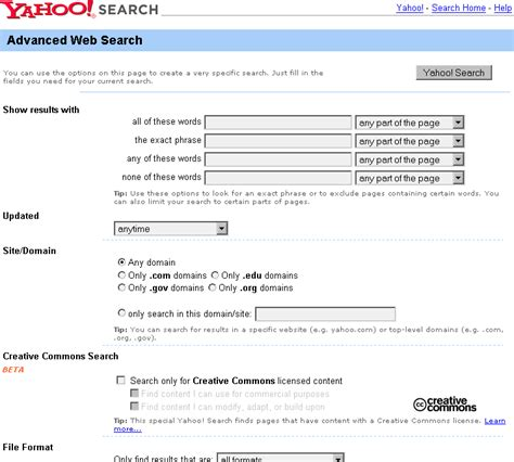 Yahoo Advanced Search 4 2 Page Types Designing Web Navigation Book
