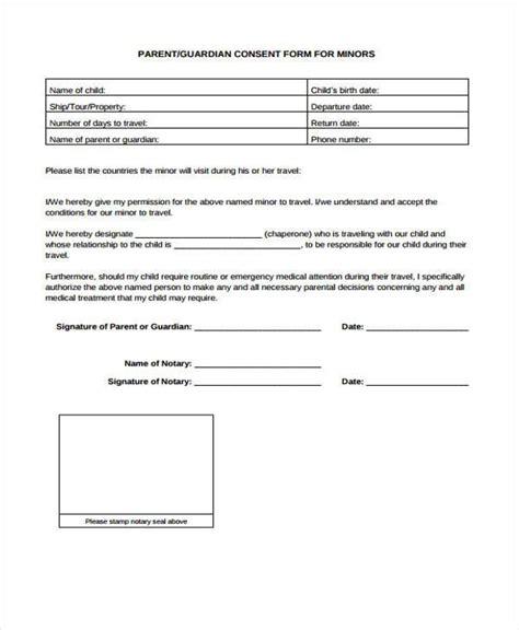 7 Travel Consent Form Sles Free Sle Exle Format Download Permission For Child To Travel With One Parent Template