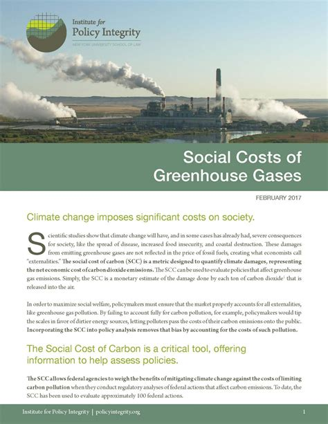 social costs  greenhouse gases institute  policy
