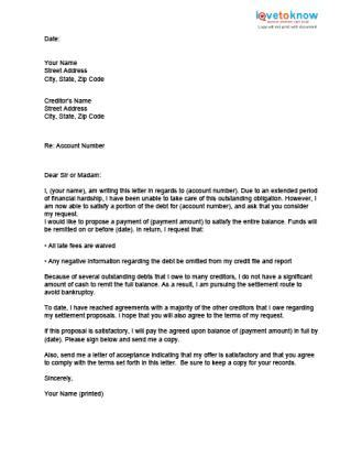 Credit Card Settlement Letter Template click to print the sle letter from a debtor images
