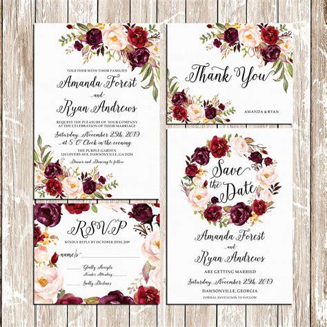 floral wedding invitation diy pink flowers and cactus printable wedding burgundy purple and pink invitation set
