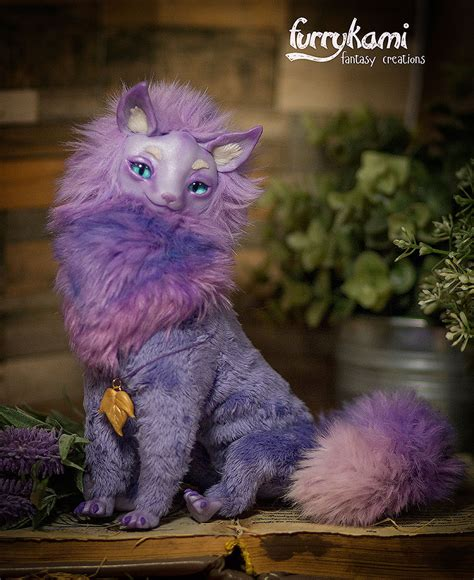 doll creature purple cat poseable doll by furrykami