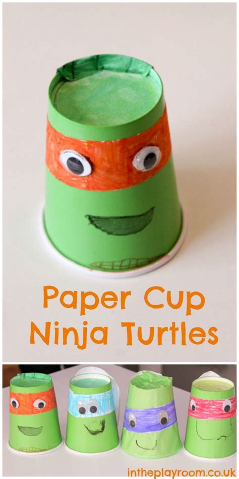 Craft Using Paper Cups - mutant turtles paper cup craft in the playroom