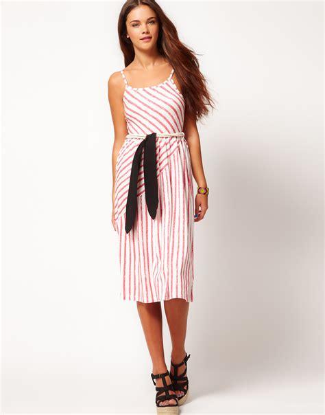 lyst river island river island diagonal stripe midi dress in black