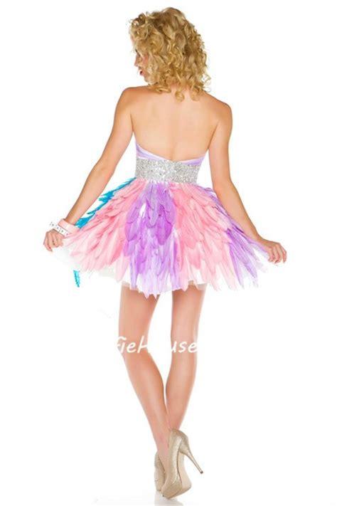 colorful prom dresses unique designer strapless mini colorful feather