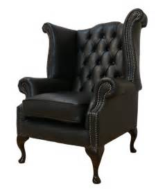 Armchair queen anne high back fireside wing chair black leather ebay