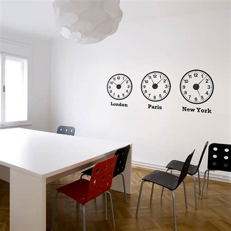 clock wall stickers time zone clocks wall stickers mechanisms by spin