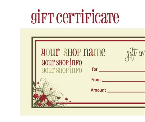 template of gift certificate printable gift certificates new calendar template site