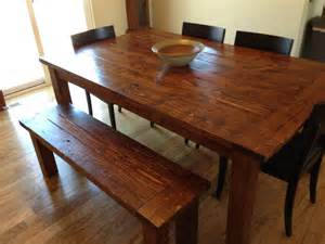 Early American Dining Room Furniture Farmhouse Table And Bench Made From Pine 2x6 2x4 And 4x4