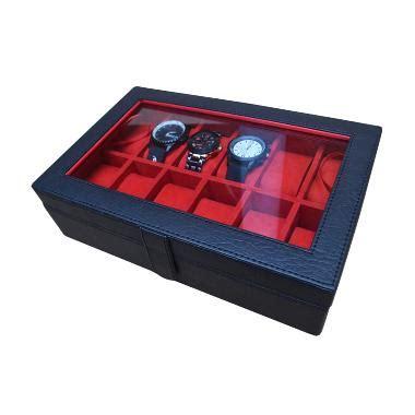 Tempat Jam jual jogja craft bj12blrd hitam merah kotak tempat jam tangan isi 12 harga kualitas