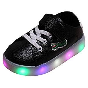 Hello Led Black Shoes Medium Size highdas boys led shoes crocodile anti slip light up sneakers black size 30 co