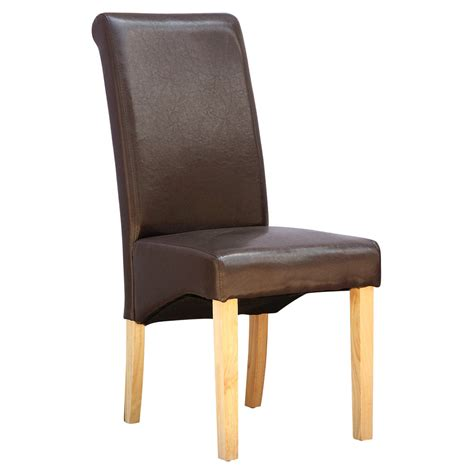 Wood And Leather Dining Chairs Cambridge Faux Leather Dining Chair W Roll Top High Back Solid Wood Legs Ebay