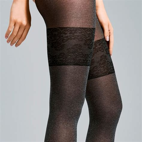 morning fiore fiore morning opqaque marl faux hold up tights at