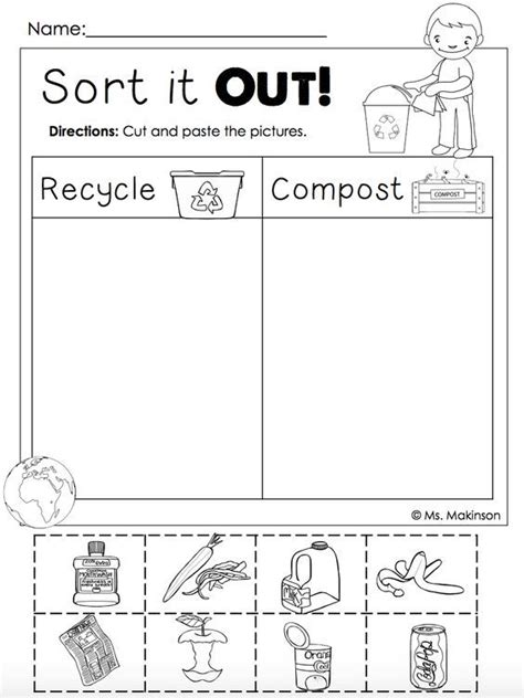 Recycle Worksheets by Free Earth Day Printables Recycling And Compost Cut