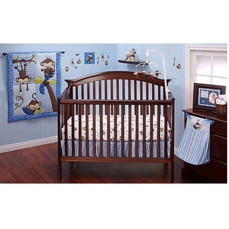 nursery in a bag crib bedding set bedding by nojo 3 monkeys 10pc nursery in a bag crib bedding set blue walmart