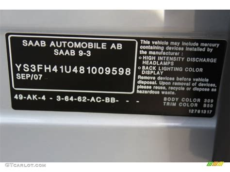 2008 saab 9 3 aero sport sedan color code photos gtcarlot