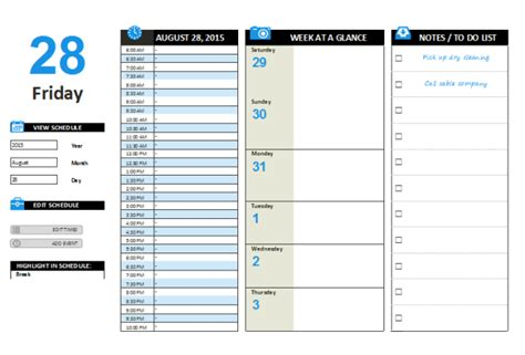 word day planner template daily planner template
