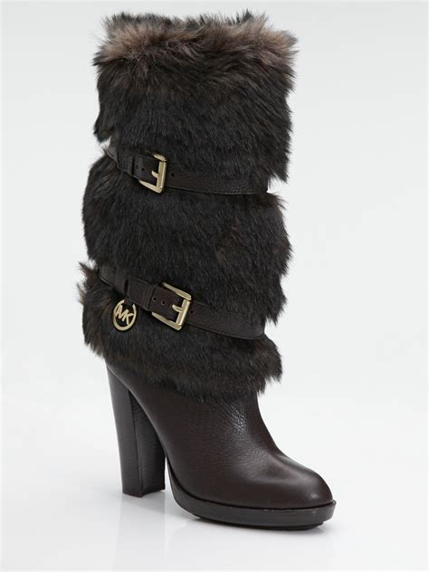 Michael Kors Carlie 1 michael michael kors faux fur leather boots in brown lyst