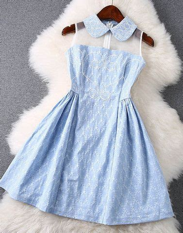 light blue collared dress embroidered lace dress with in light blue co