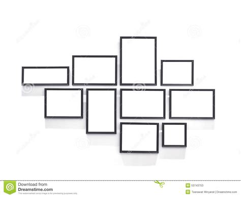 blank picture frame design in group template on white wall