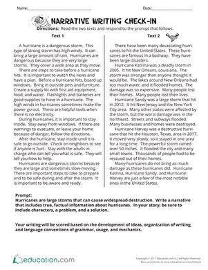 Narrative Essay Facts by Narrative Writing Check In Worksheet Education