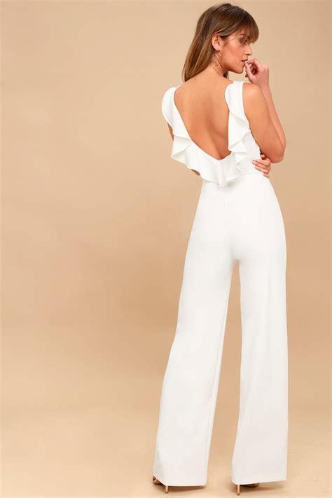 Backless Jumpsuit Size L chic jumpsuit backless jumpsuit white jumpsuit