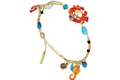 Bracelet chaîne 2 rangs crabe, hippocampe corail fond marin Les Néréides Bijoux