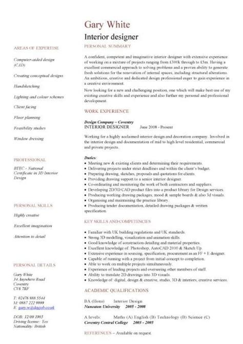 interior decorator resume sle 28 images resume sle design 28 images best graphic design