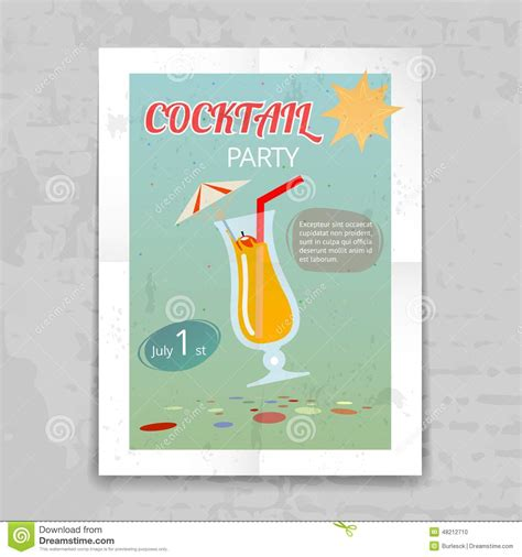 vintage cocktail party poster vintage cocktail party invitation poster stock vector