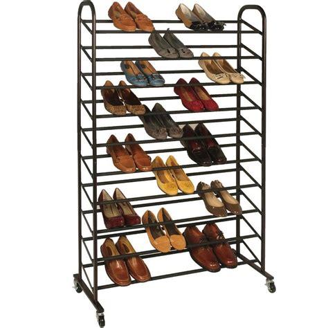 50 Shoe Rack by Rolling Shoe Rack 50 Pair In Shoe Racks