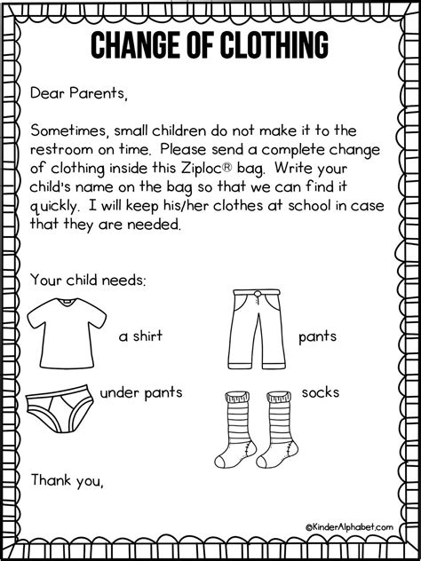 Study Do Clothes Replace by Parent Letter For Change Of Clothing Free From