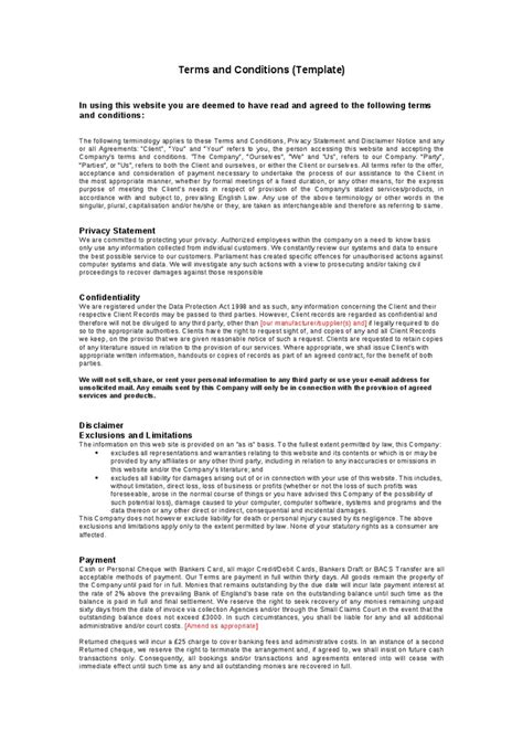 terms and conditions template free website standard terms and conditions template hashdoc