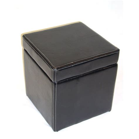 cube faux leather storage ottoman in black 554664