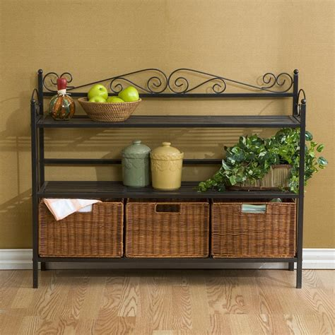 Bakers Rack With Baskets by Sei Celtic 3 Drawer Storage Shelf Celtic