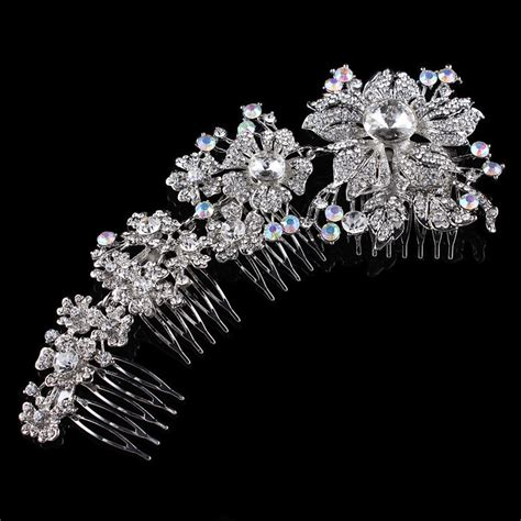 bridal tiara prom rhinestone crystal hair pin comb heart crown elegant bridal wedding hair combs tiara crystal rhinestone