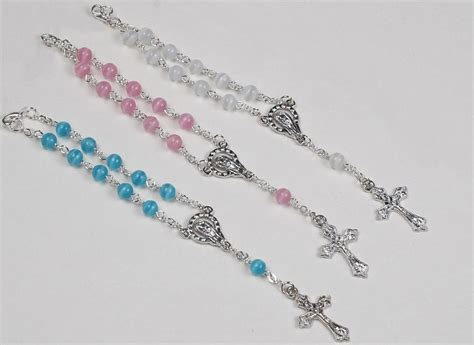 Rosary Giveaways Baptism - baptism favors rosaries in mini organza bag and card