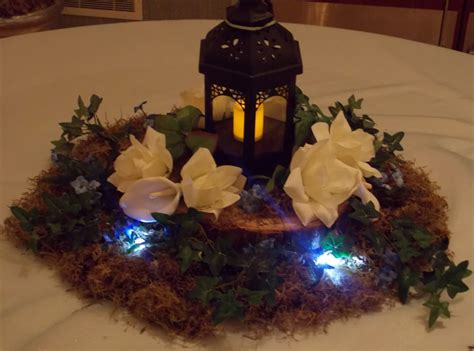 wood slab centerpiece lighted lanter centerpiece real moss and 16in wood slab surrounded by flowers yelp