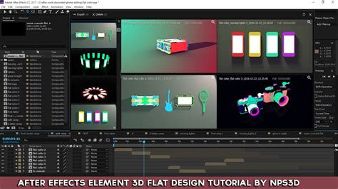 tutorial after effect flat design after effects element 3d flat design tutorial by nps3d