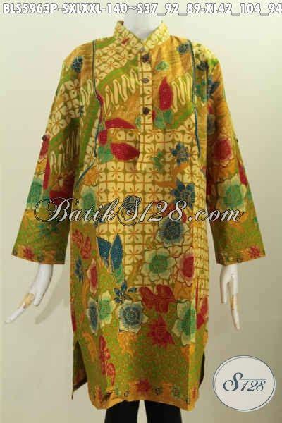 Terusan Daleman Pendek Kode 5906 baju batik terusan untuk wanita pakaian batik blus lengan