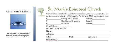 Church Finacial Pledge Cards Template by St S Welcomes You Blessed To Be A Blessing
